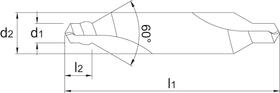 Centreerboor- 15.200 - DIN 333-W' de kraag versterkt de punt' verbetert de spaanafvoer en vergemakkelijkt de smering