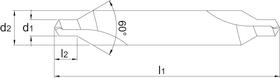 HSS-E - Centreerboor 60°, lang - P.T. - 15.150