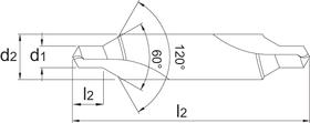 Centreerboor- 15.380 - DIN 333-B' de hoek van 120° verzinkt en beschermt de gemaakte boring