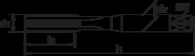 Handtap' Metrisch- 21.150 - DIN 352' 60°' korte uitvoering' voor moeilijk te bewerken materialen zoals roestvaststaal