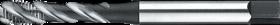 Machinetap voor blinde gaten' UNF- 24.740 - DIN 371' 60°' verdikte schacht' spiraalhoek 40°' voor blinde gaten' aansnijding 2'5 gangen' snijlengte 10 gangen teruglopend naar de 5e gang