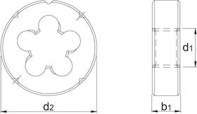 Snijplaat rond' Metrisch- 27.120 - DIN EN 22568' 60°' vanaf M3 met schilaansnijding' voor hand- en machinaal gebruik