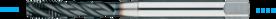 Machinetap voor blinde gaten' Metrisch- 23.414 - DIN 371' 60°' verdikte schacht' spiraalhoek 40°' voor blinde gaten' aansnijding 2'5 gangen' snijlengte 10 gangen teruglopend naar de 5e gang