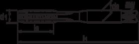 Machinetap voor doorlopende gaten' UNF- 24.525 - ISO 529' 60°' met schilaansnijding voor doorlopende gaten' aansnijding 5 gangen