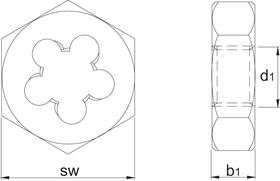Snijmoer zeskant' Metrisch- 27.700 - DIN 382' 60°