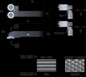 Kartelrolhouder- 75.125 - voor drukkartelrol 25x10x15/11 mm' type AA' BR' BL artikelnr. 75.197' houder met dubbele kop voor kartelen tot aan de borst