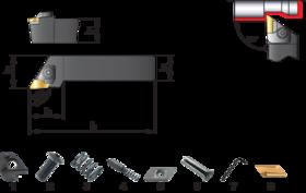 Wisselplaathouder CKJNR/L- 72.121 - Wisselplaathouder CKJNR/L' voor wisselplaten KNUX