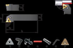 Wisselplaathouder PTGNR/L- 72.340 - Mesbeitel PTGNR/L' 90°' voor wisselplaten TNMA' TNMG' TNMM