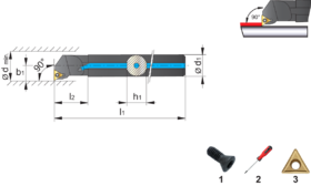 Wisselplaathouder A-STFCR/L- 72.620 - voor wisselplaten TCGT' TCMT