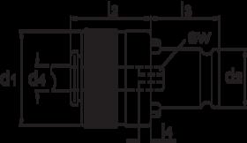 Tapinzetstuk' met ratel- 81.634 - voor machinetappen volgens ISO' type 19/1 Gr. 1