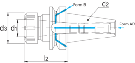 Spantanghouder- 82.516 - DIN 6499-C' voor spantangen ER DIN 6499-B' BT volgens MAS 403 BT