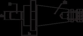 Boorhouderstift- 84.173 - DIN 238' met SK-opname volgens DIN 2080 en met B-opname DIN 238
