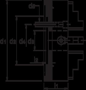 Vier-klauwplaat onafhankelijk- 85.600 - met cil. pasrand' compleet met 1 stel harde omkeerbekken' klauwplaatsleutel en bevestigingsbouten