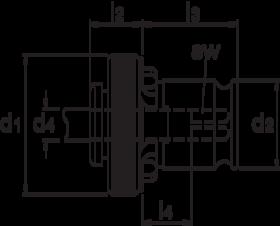 Tapinzetstuk' zonder ratel- 81.653 - voor machinetappen volgens DIN' type 19/11 Gr. 1