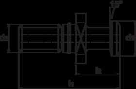 Torax Aantrekbout, DIN 69872-A, doorboorde uitvoering