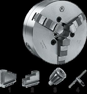 Drie-klauwplaat zelfcentrerend- 85.410 - DIN 6350' vervaardigd uit gietijzer' met cil. pasrand volgens DIN 6350