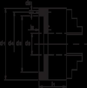 Drie-klauwplaat zelfcentrerend- 85.420 - DIN 6350' vervaardigd uit staal