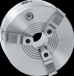 Drie-klauwplaat zelfcentrerend- 85.450 - DIN 6350' vervaardigd uit staal' met cil. pasrand volgens DIN 6350