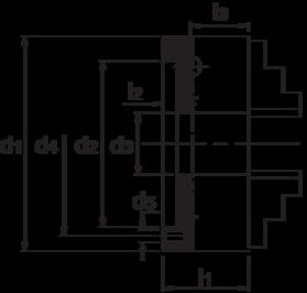Bison Zelfcentrerende Drie-Klauwplaat, staal, type 3404, DIN 6350