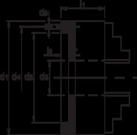 Vier-klauwplaat zelfcentrerend- 85.500 - DIN 6350' vervaardigd uit gietijzer' met cil. pasrand volgens DIN 6350
