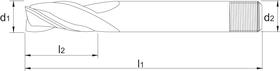 Universeelfrees met middellange snijlengte- 33.340 - DIN 844-K' cil. schacht met aantrekdraad' spiraalhoek 45°' uit M42-staal' geeft een zeer glad oppervlak' voor algemeen gebruik