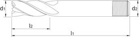 Vingerfrees met middellange snijlengte- 34.204 - DIN 844-K' centrumsnijdend' cil. schacht met aantrekdraad' uit M42-staal