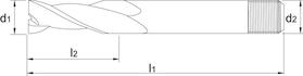 Spiebaanfrees met lange snijlengte- 32.500 - cil. schacht met aantrekdraad' uit M42-staal