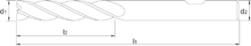 Vingerfrees met lange snijlengte- 34.355 - DIN 844-L' centrumsnijdend' cil. schacht met opspanvlak type Weldon (DIN 1835-B)' uit M42-staal