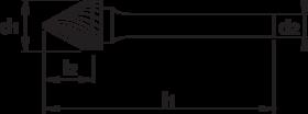 Stiftfrees kegelvorm- 41.600 - met stalen schacht