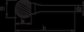 Stiftfrees kogelvorm- 41.548 - met stalen schacht