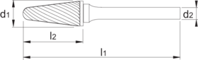 Stiftfrees kegelvorm- 41.628 - met stalen schacht