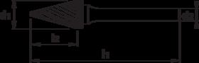 Stiftfrees kegelvorm spits- 41.633 - met stalen schacht