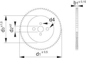 Afkortzaagblad HSSE-Co- 63.420 - met universele meeneemgaten' voor RVS