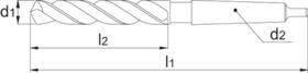 Spiraalboor lang DIN 340- 12.800 - DIN 341' con. schacht' gefreesde en geslepen lange uitvoering' met verdunde punt' tophoek 118°