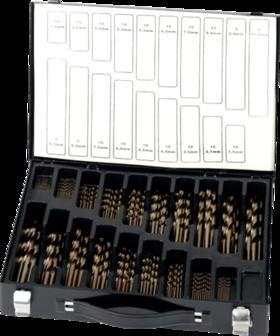Spiraalborenset metaal- 19.149 - DIN 338' met kruisaanslijping vanaf 3'0 mm' in kunststof cassette' gevuld met boren uit artikelgroep 11.490
